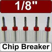 "FIVE 1/8"" Router Bits - Carbide - Chip Breaker - Drill Point Tip  CNC Models N"