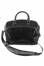 KENNETH COLE New York Black Leather Messenger Briefcase Attache Work Laptop Bag