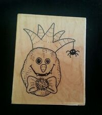 HALLOWEEN PUMPKIN with SPIDER Impression Obsession Rubber Stamp HOLIDAY King Hat