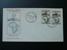 cooperation map of Africa hands Decaris FDC Cameroon 1964