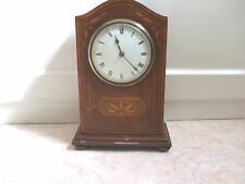 Late Victorian Inlaid Mahogany Platform Movement enamel dial Mantle Clock GWO