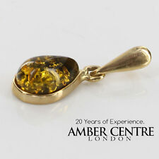 Green Colour Baltic Amber Pendant in 9ct Italian Gold -RRP£39 GP0056G