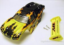 286F: 1 set 4WD RC Truggy Body Shell(w/Tail) 220x90x60mm, 1:18 (Yellow/Gray)