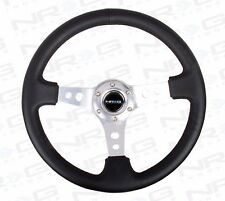 "NRG Steering Wheel 06 BLACK Leather & SILVER Trim / Spoke 350mm (3"" DEEP DISH)"