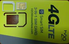 Prepaid H2O Wireless OEM TRIPLE CUT  Sim USE AT&T Network. FIT ANY GSM PHONES