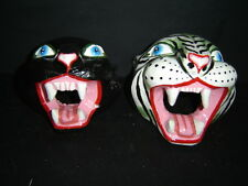 929 PANTERA+JAGUAR WHITE MEXICAN WOODEN MASK WILD ANIMAL 2 pzas tigres madera