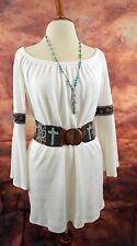 VAVA by JOY HAN DRESS COWGIRL GYPSY WHITE Tunic Western Boho Embroidery MEDIUM