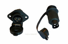 Complete set 3-pole Vehicle Mounted Socket + matching Plug KFZ DIN 9680