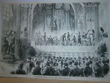 Gravure 19° Tirage au sort des conscrits de 1858 dans la salle St Jean