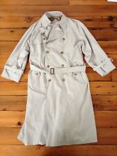 """Vtg Burberry Microsuede Poly Nylon Blend Double Breast Trench Coat 38R 48"""" Chst"""
