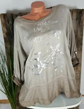 NEU ITALY COOLES OVERSIZE VINTAGE SHIRT PULLI BLUSE BICYCLE PRINT TAUPE 40-46