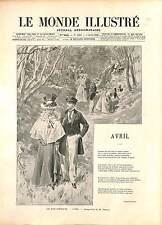 """""""AVRIL"""" APRIL Stéphen Liégeard COSTUME XIX ALLEGORIE FRANCE GRAVURE 1896"""