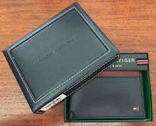 Tommy Hilfiger Navy Striped Men's Genuine Leather Double Billfold Wallet
