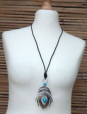 LAGENLOOK AMAZING QUIRKY BOHO LONG ARTS GERMANY STYLE PENDANT NECKLACE  *SILVER*