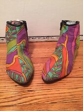 Thom Brown Dolly Bird Psychedelic Far Out Groovy Go Go Ankle Boot Pink Green Ora