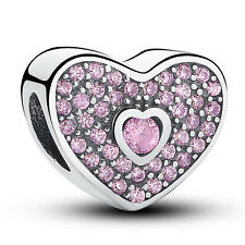 Authentic Sterling Silver 925 Charm Pink Sweatheart Bead for European Bracelet
