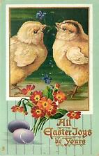 EASTER-TWO BABY CHICKENS IN GRASS-PURPLE EGGS-FLOWERS-MAILED 1911-Q99031