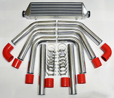 """Universal High Quality Polished Intercooler 2.5"""" 8pc Piping Kit Aluminum Red"""