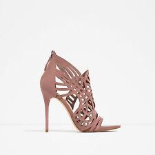 ZARA SUEDE LEATHER NUDE  PINK OPENWORK HIGH HEEL SANDALS/SHOES SIZE UK  7 EU 40