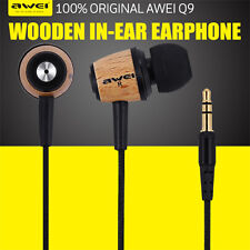 Awei Super Bass Wooden Headphone Stereo Headset Earphone For iPhone/iPad Samsung