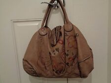 Caterina Lucchi Large Soft Leather Brown floral Slouchy Shoulder Bag