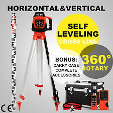 Red Beam Auto Self Levelling Rotating Rotary Laser Level + Tripod + Staff