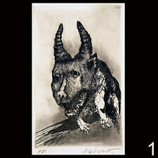 Signed original intaglio etching artist proofs of Gargoyles by Aubrey Schwartz