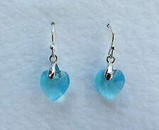 SMALL HEART DROP EARRINGS FACETED TURQUOISE BLUE GLASS SILVER PLATED FITTINGS