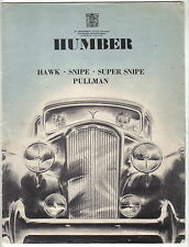 Humber Range Hawk Snipe Super Snipe Pullman Original UK Sales Brochure c. 1938
