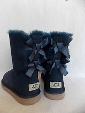 UGG~ Bailey Bow Boots~Navy Blue Suede 2 Ribbon US 5/ 36 (Fits US 6) New #1002954