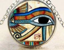 Glass Cabochon EYE OF HORUS Egyptian symbol Pendant Necklace and chain UK Seller