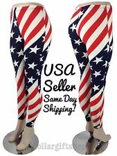 Womens American Flag Leggings Stars and Stripes Soft Skinny Stretch Tight XL/XXL