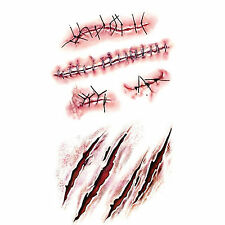 Halloween Removable 3D Scary Zombie Tattoo Costume MakeUp Blood Injury Wound 2x
