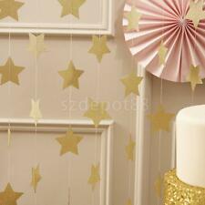 13FT GOLD 10cm Star Garland Bunting Christmas Home Party Hanging Decoration