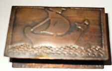 "Copper Arts & Crafts Matchbox Holder, ""NCW"" Monogram"