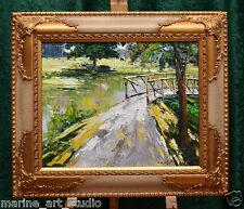 """IMPRESSIONIST """"BRIDGE ON THE SUMMER RIVER"""" QUALITY OIL PAINTING BY PALETTE KNIFE"""