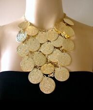 Kerdan Tribal Collar Choker Necklace Egyptian Big Metal Coins Belly Dance Gypsy