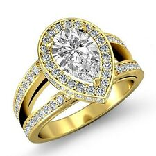 Halo Pave Set Pear Cut Diamond Engagement Ring GIA F VS2 18k Yellow Gold 2.2ct