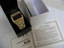 VINTAGE MENS HAMILTON QED LED DIGITAL WIRSTWATCH (EXC CON!) NICE BOX & PAPERS!