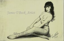 Betty Paige Stockings ACEO nylons legs nylon Nude vintage sketch pinupmodel tits
