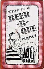 Beer-B-Que TIN SIGN funny vtg bar pub pool beach deck garage bbq diner decor OHW