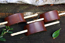 HANDMADE BROWN LEATHER HAIR BARRETTE / PIN / CLIP / SLIDE - SMALLER SIZE