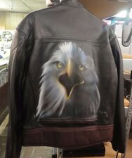 Harley Davidson Men's Genuine Leather Jacket XL w/Airbrushed Screamin Eagle