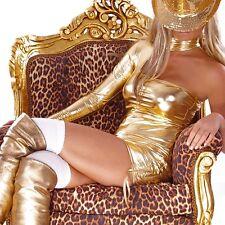 SEXY MICRO MINI ABITO ORO METALLIZZATO ADERENTE MANICA CLUB WEAR GOLD DRESS XS