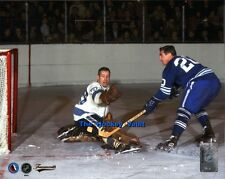 MASKLESS Les BINKLEY MAKES a Kick SAVE on Bob PULFORD Maple LEAFS Penguins 8X10!