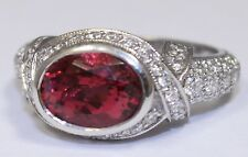 3.15ct Oval Genuine Pink Tourmaline & 1.55ct VS1 G Color Diamond Platinum Ring
