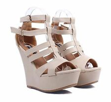 """Nude Zipper Toe Faux Leather Platforms Wedges Womens 5"""" High Heels Size 6.5"""