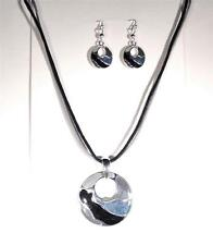 BEACH FASHION JEWELRY BLUE GRAY STONE OCEAN WAVE SEA LIFE NECKLACE AND EARRINGS