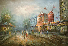 """Oil Painting of Cityscape European City People Street Windmill 24x36"""" Free Frame"""