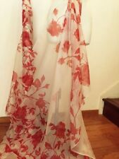 White Red Floral Pure Silk Organza Couture Fabric by Yard
